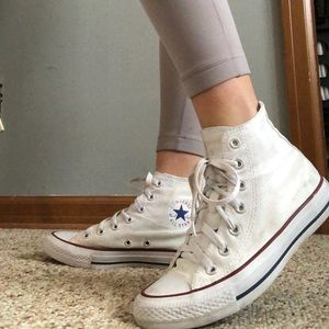 Lightly worn high top white converse